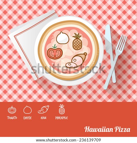 Hawaiian pizza on a dish with icon ingredients and recipe name at bottom - stock vector