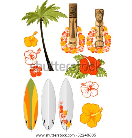 Hawaiian rest attributes, Hibiscus, Surfboards and tikis - stock vector