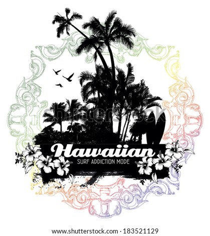 hawaiian summer scene - stock vector