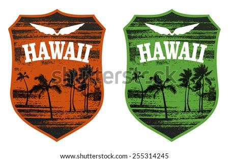 hawaiian surf shield with many palms - stock vector