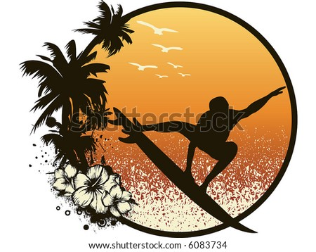 hawaiian surfing - stock vector