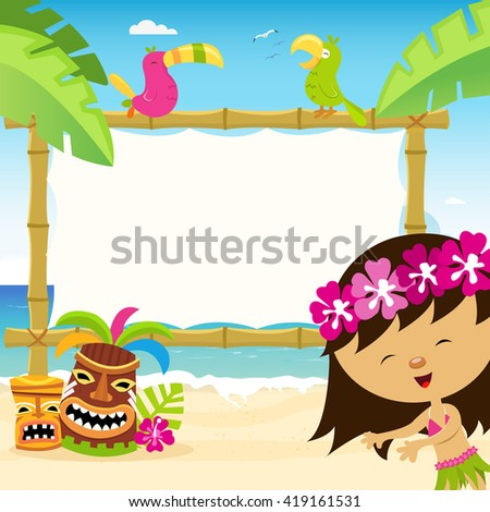 Hawaiian Template With Hula Dancer - stock vector