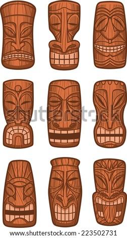 Hawaiian tiki god statue carved polynesian wood vector illustration. - stock vector
