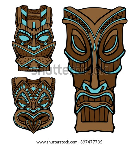 Wooden Tiki Head Drawing Tiki Mask Stock Images...