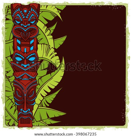 Hawaiian tiki god statue carved wood vector illustration. Grunge frame on a separate layer - stock vector