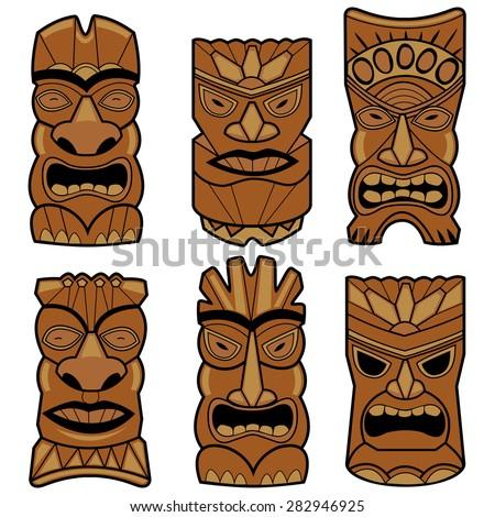 Hawaiian tiki statue masks set. Illustration set of cartoon carved Hawaiian tiki god statue masks. - stock vector