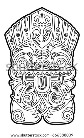Hawaiian Tiki Totem Mask Coloring Page Stock Vector 666388021