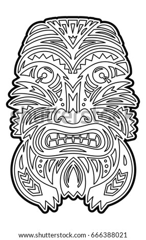 Hawaiian Tiki Totem Mask Coloring Page Stock Vector (Royalty Free ...