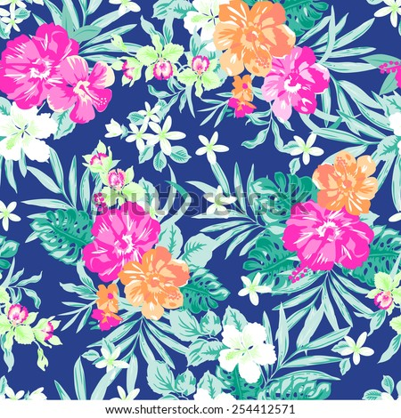 Hawaiian Tropical floral print ~ seamless background - stock vector