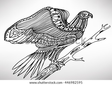 Hawk. Hand-drawn with ethnic pattern. Coloring page - isolated on a white background. Zendoodle patterns. Vector illustration.