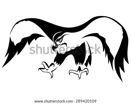 Hawk with wide wings outstretched during the attack, cartoon vector illustration - stock vector