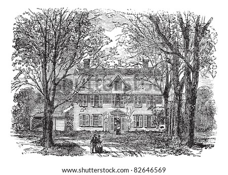 Hawthorne House at Concord, Massachusetts vintage engraving. Old engraved illustration of treelined path leading towards old manse, during 1890s. Trousset encyclopedia (1886 - 1891).