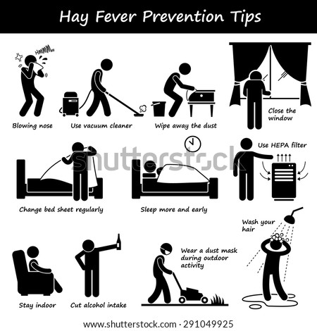 Hay Fever Prevention Allergy Tips Stick Figure Pictogram Icons - stock vector