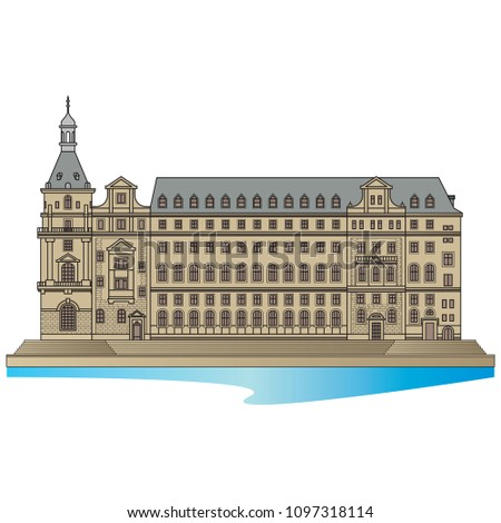 Haydarpasa Railway Terminal detailed in Istanbul, Turkey. Vector, illustration