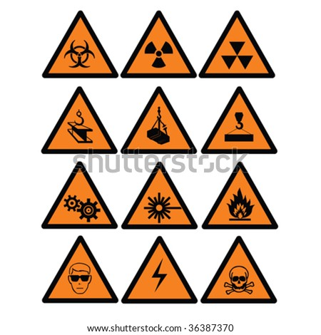 Hazard  and safety vector signs - stock vector