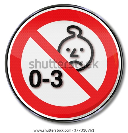 Hazard for children under the age of three years - stock vector