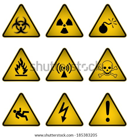 Hazard Icons and Symbols  - stock vector
