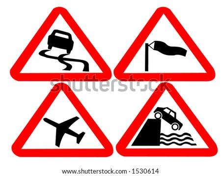 hazard road signs - stock vector