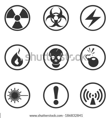 Hazard Sign Icons - stock vector