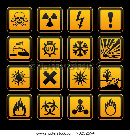 Hazard symbols orange vectors sign, on black background - stock vector