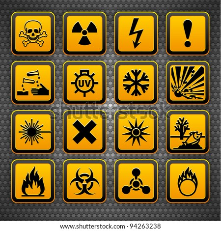 Hazard symbols orange vectors sign, on metal surface - stock vector