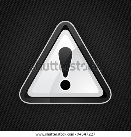 Hazard warning attention black sign on a metal surface, 10eps - stock vector