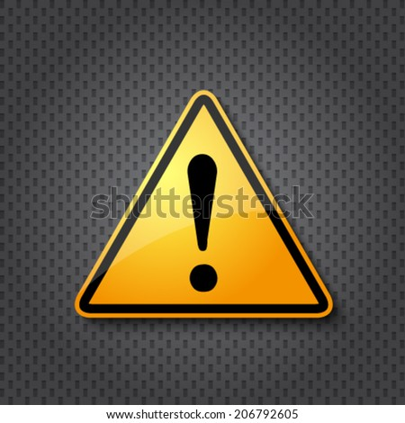 Hazard warning attention sign on dark doted metal texture - stock vector
