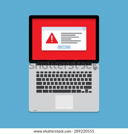 Hazard warning attention sign with exclamation mark symbol on laptop - stock vector