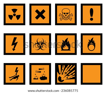 Hazard warning icons, with one blank icon for your additions. - stock vector