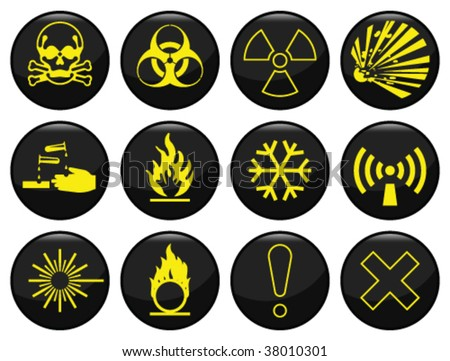 Hazard warning related icon set each individually layered - stock vector