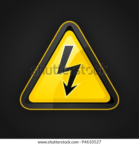 Hazard warning triangle high voltage sign on a metal surface, 10eps - stock vector