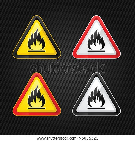 Hazard warning triangle highly flammable warning set sign on a metal surface - stock vector