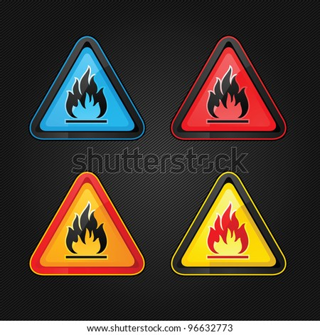Hazard warning triangle highly flammable warning set symbols on a metal surface - stock vector