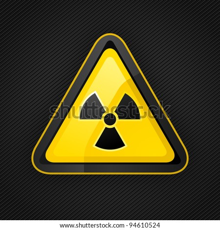 Hazard warning triangle radioactive sign on a metal surface, 10eps - stock vector