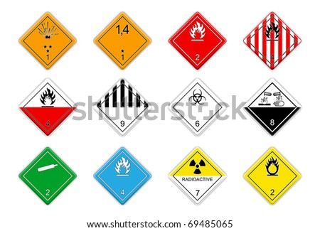 Hazardous goods signs - stock vector