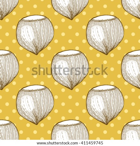 Hazelnut in vintage style with polka dot, vector seamless pattern - stock vector