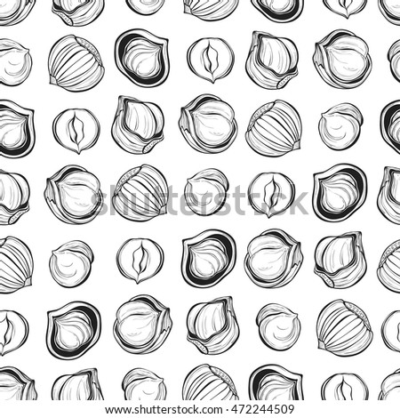 Hazelnuts Sketch Isolated Vector Elements On Stock Vector