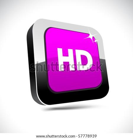 HD metallic 3d vibrant square icon. - stock vector