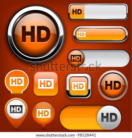 HD orange design elements for website or app. Vector eps10. - stock vector