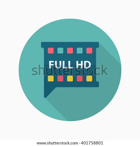 HD Video icon , Vector flat long shadow design.  - stock vector