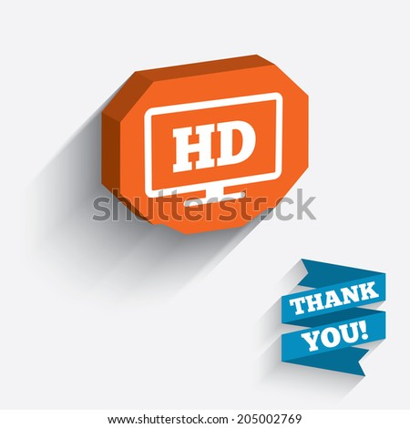 HD widescreen tv sign icon. High-definition symbol. White icon on orange 3D piece of wall. Carved in stone with long flat shadow. Vector - stock vector