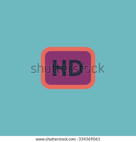 HD word button. Colorful vector icon. Simple retro color modern illustration pictogram. Collection concept symbol for infographic project and logo - stock vector