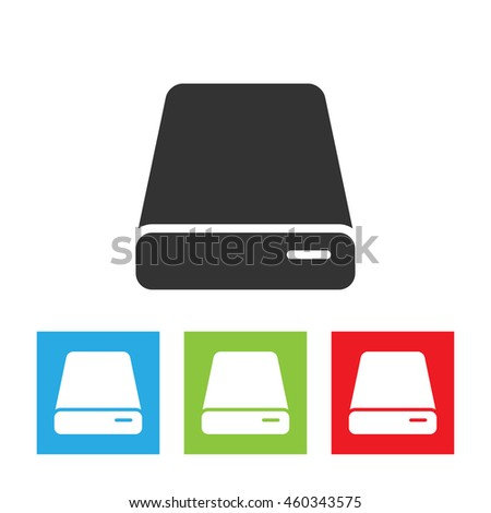 HDD icon. Simple logo of hard drive disk isolated on white background. Flat vector illustration. - stock vector