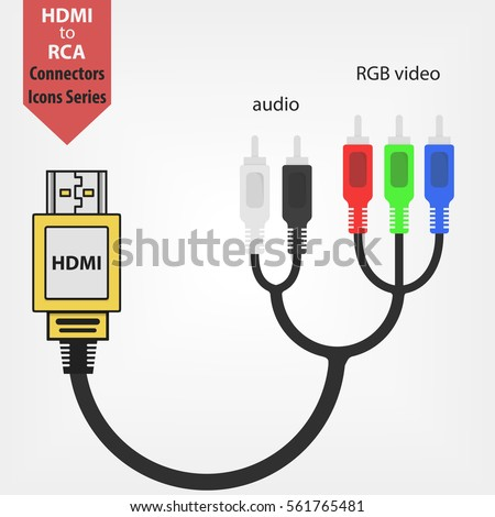 Hdmi rca adapter flat vector icon stock vector hd royalty free hdmi to rca adapter flat vector icon audio and rgb video connectors jack cables publicscrutiny Image collections