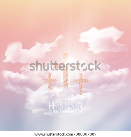 He is risen, vector Easter religious illustration with transparency and gradient mesh. - stock vector