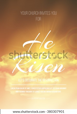 He is risen, vector Easter religious poster template with transparency and gradient mesh. - stock vector
