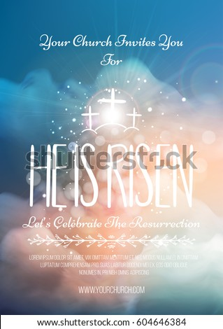 He risen vector easter religious poster stock vector 604646384 he is risen vector easter religious poster template with transparency and gradient mesh church stopboris Image collections