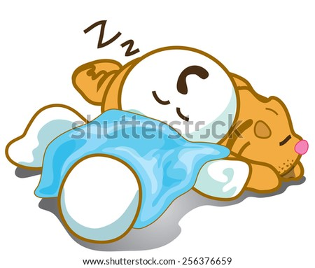 He trying sleeping on dog pantomime cartoon symbol design - stock vector