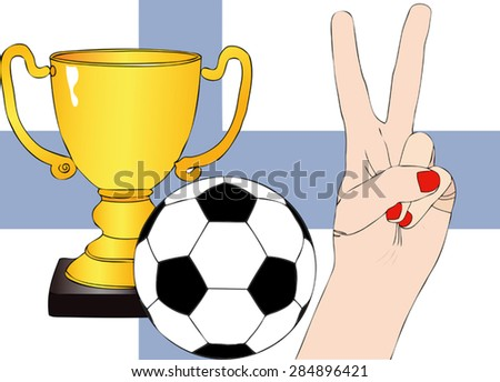 He won Finland. Illustration depicting the joy of a supporter for the cup won in a football tournament for nations - stock vector