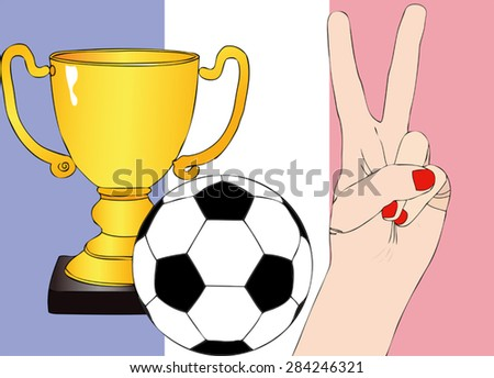 He won France - Illustration depicting the joy of a supporter for the cup won in a football tournament for nations - stock vector